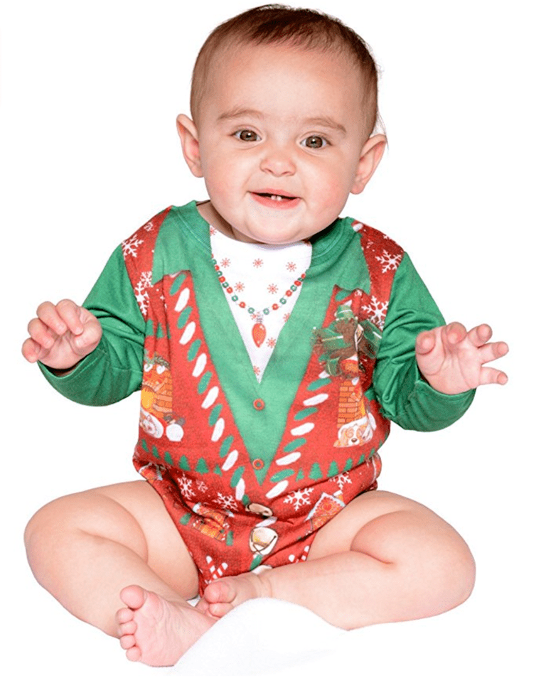 creative apparel infant ugly christmas sweater vest romper