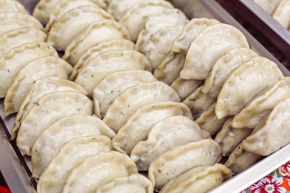 Dumplings for sale on a market stall