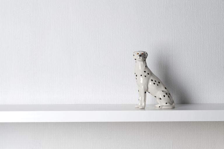 Porcelain Dalmatian Dog Sitting on Shelf