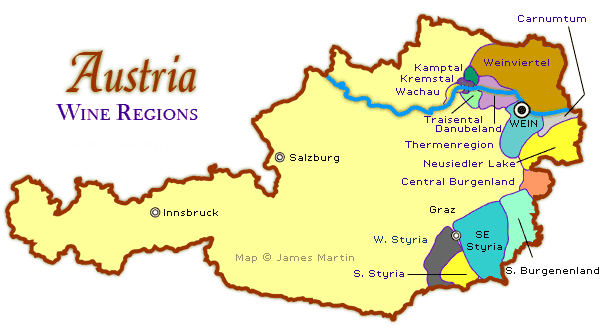 Austria wine regions map and tourism information austria map austria wine regions austria wine region map gumiabroncs Gallery