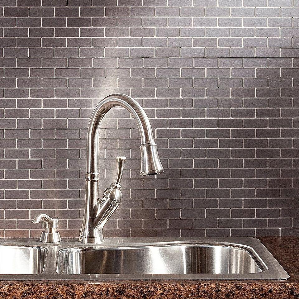Peel and stick backsplash tile guide aspect peel and stick metal backsplash tiles dailygadgetfo Choice Image