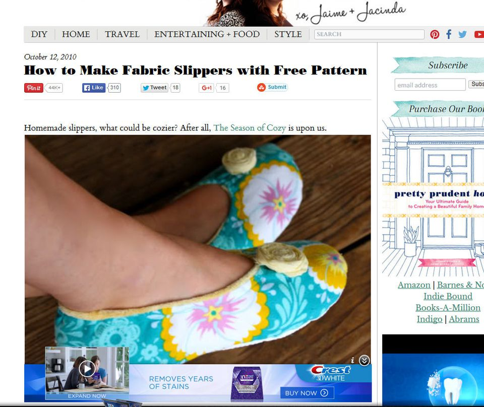 Fabric Slippers with Free Pattern