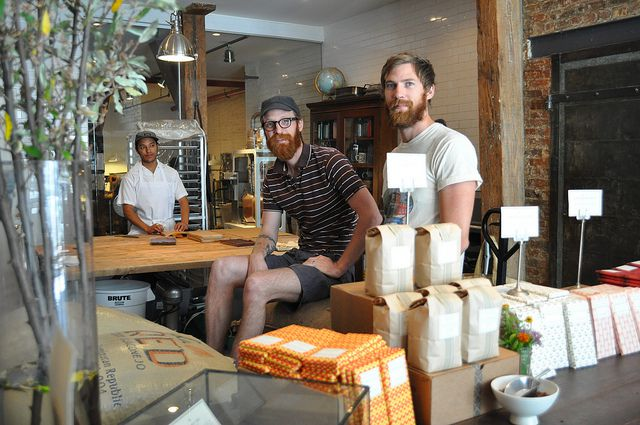 The Mast Brothers in 2011 at their chocolate factory in Brooklyn