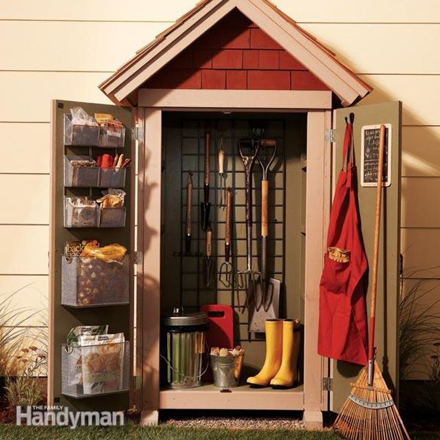 picture of a small shed with gardening tools inside - Garden Sheds With Windows