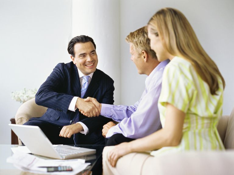 Insurance agent with clients
