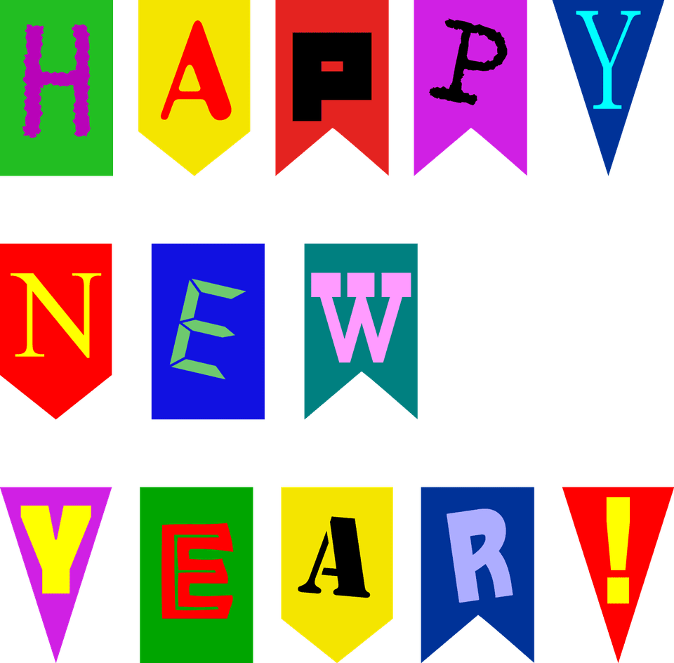 Happy New Year Card BannerDigital Stamp