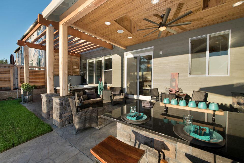 covered patio and kitchen