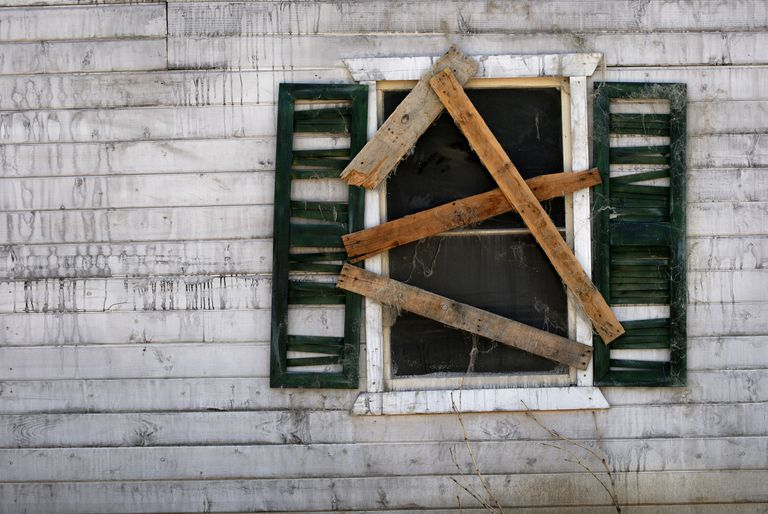 Boarded up window