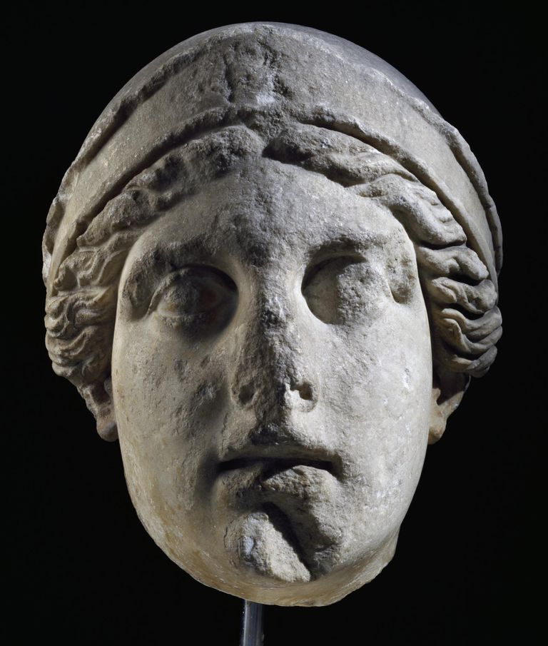 Colossal marble head of Athena, Artifact uncovered in Bornova, Turkey. Hellenistic Civilization, 2nd century BC
