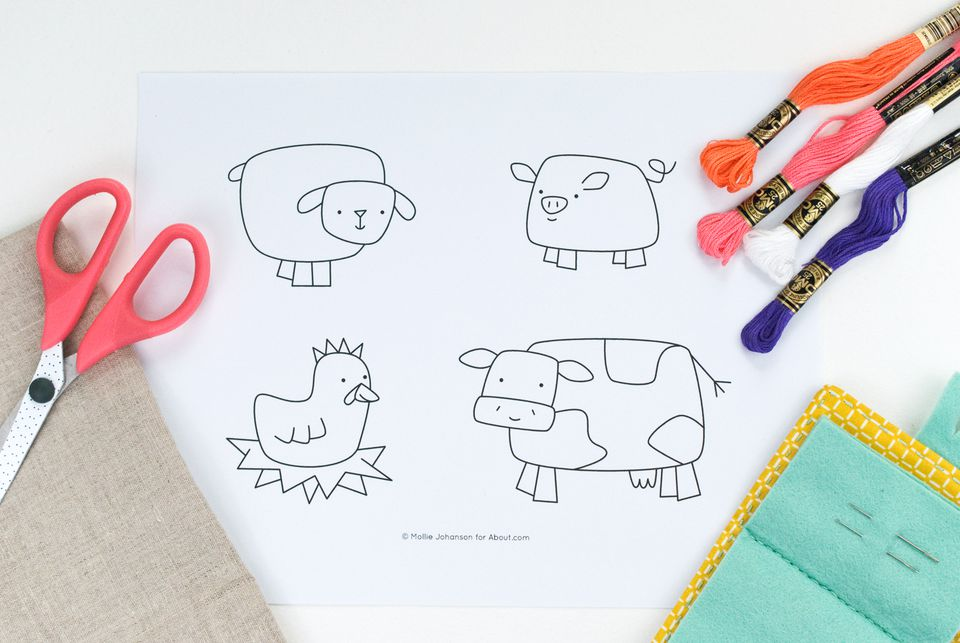 Funky Farm Friends Embroidery Pattern