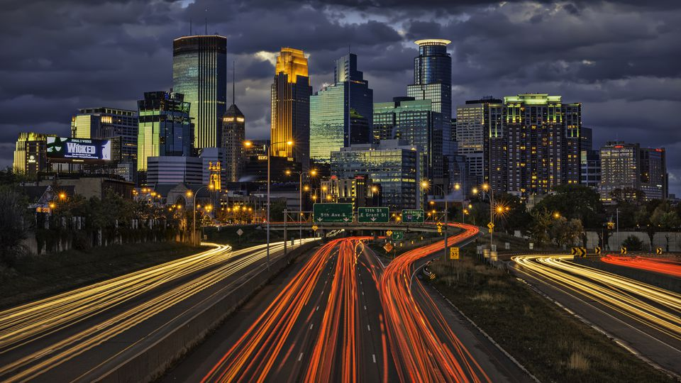 The Minneapolis skyline at dusk.