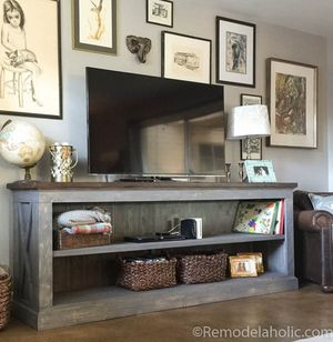 Living Room Furniture Packages With Tv. Farmhouse Style TV Console by Remodelaholic 9 Free Stand Plans You Can DIY Right Now