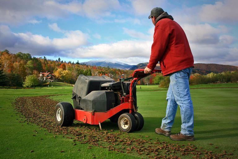 Man aerating golf green