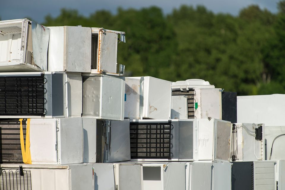 Stack of disposed fridges