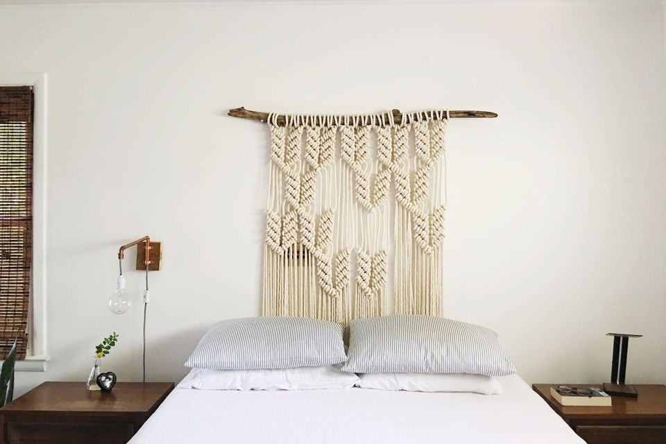 Macrame DIY headboard on branch