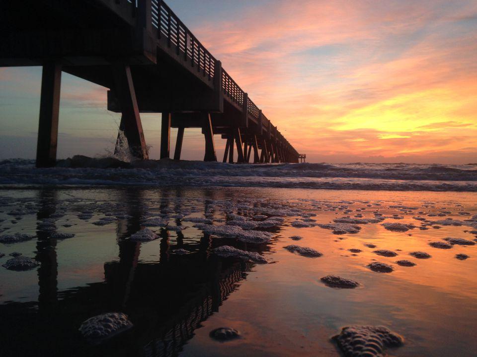 Pier at sunset, Jacksonville Beach, Florida, America, USA