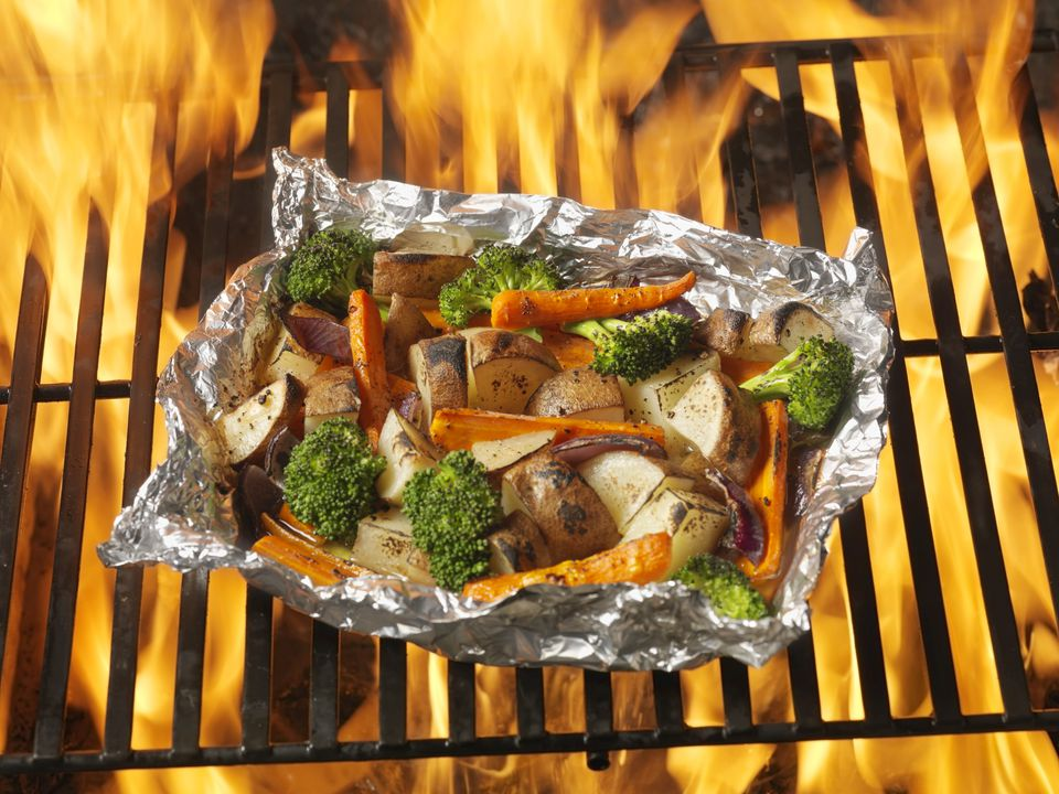 Foil Wrapped Vegetables Are Ideal For Cooking On The Camping Grill