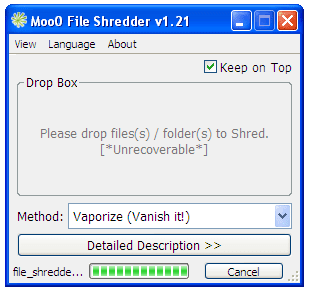 Screenshot of Moo0 File Shredder v1.21