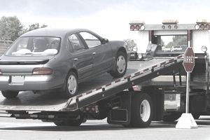 Car being towed away