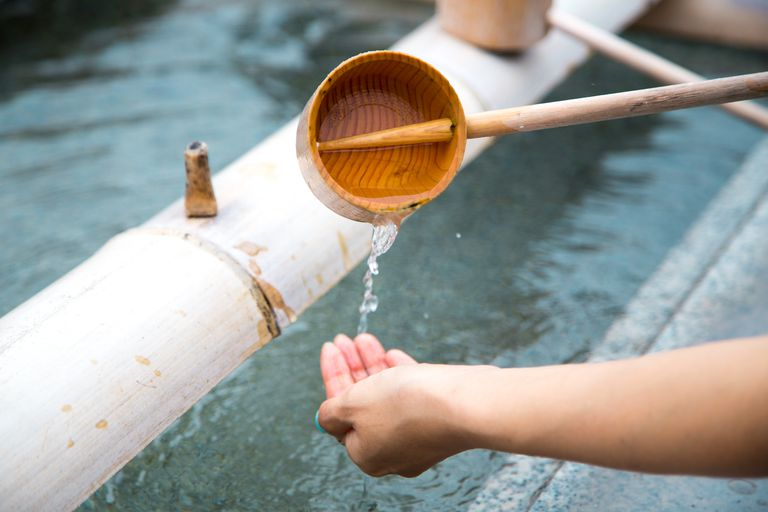 Ritual hand washing at a Japanese temple