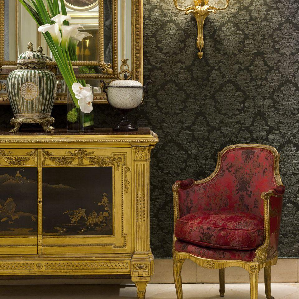 Reception corner at the Hôtel St Regis in Paris.