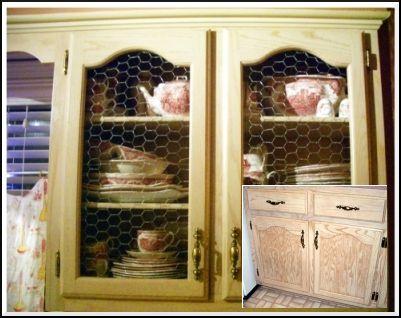 cabinet doors with chicken wire panels