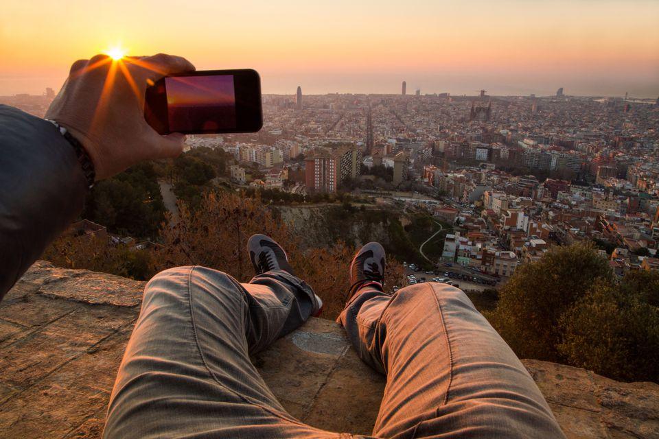 Smartphone view over Barcelona