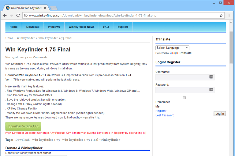 Download Win KeyFinder RC at Free Download 64 (Encryption Tools)
