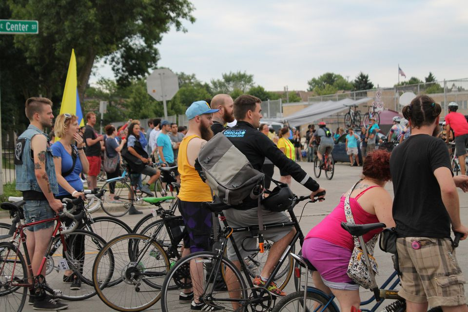 Crowd from Riverwest 24 Bike Race