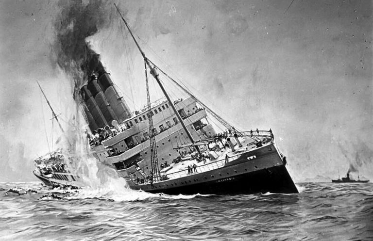RMS Lusitania torpedoed off Ireland