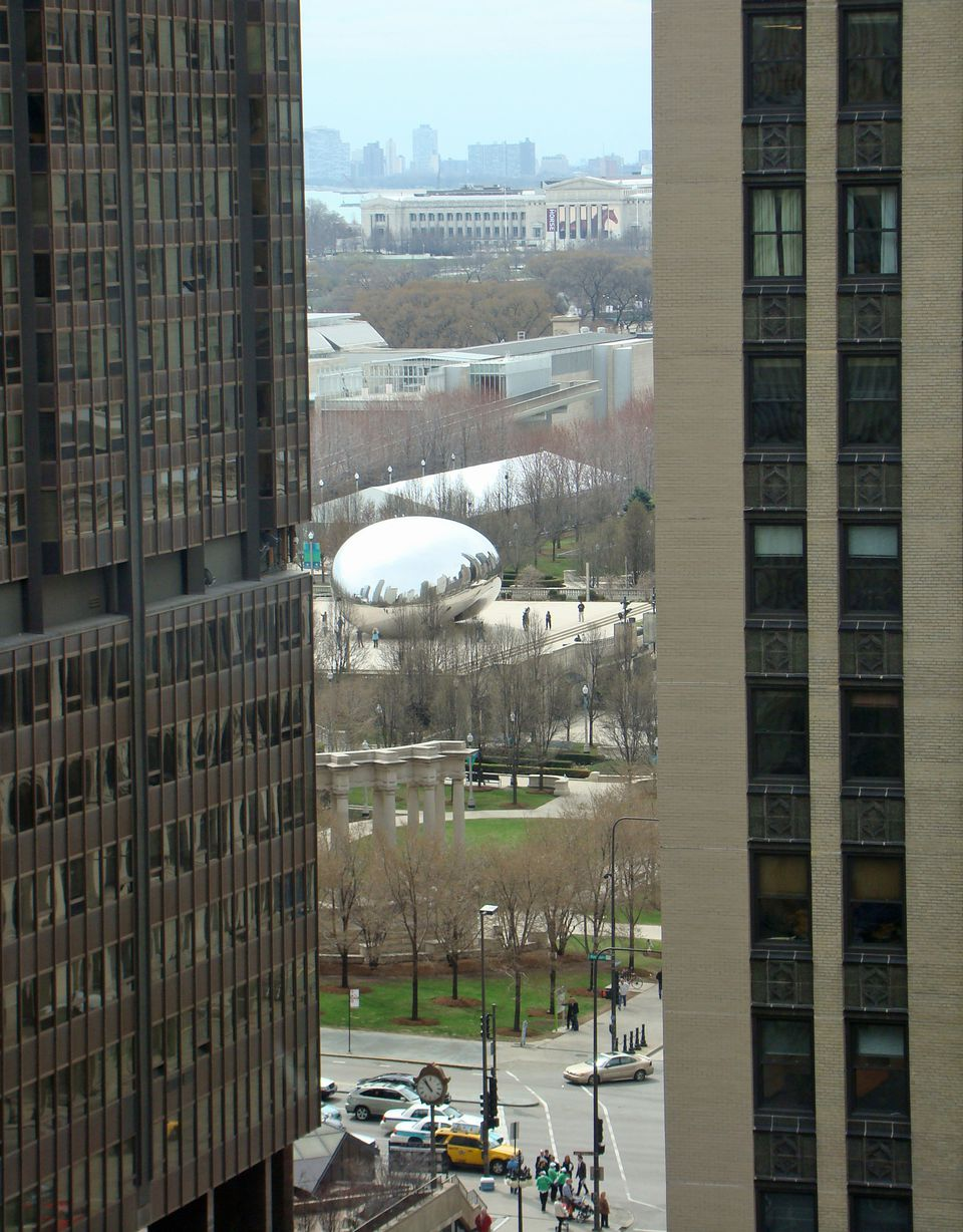 A view of Michigan Avenue in Chicago from a room booked through Priceline's name-you-own-price bidding.