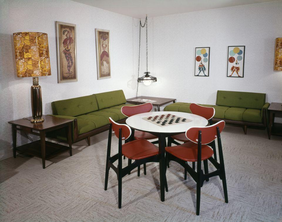 Linoleum Flooring in Rec Room