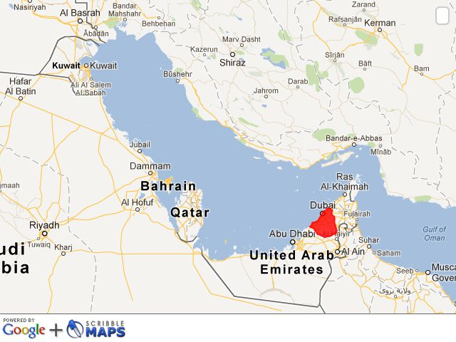 Where is dubai facts and history map of the middle east highlighting dubai in the uae gumiabroncs Choice Image
