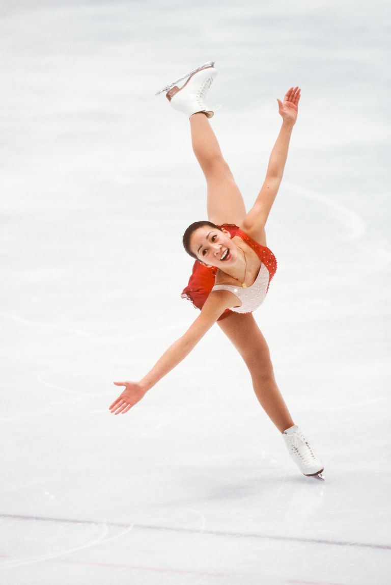 Ice Skating Champion Michelle Kwan Does a Spiral