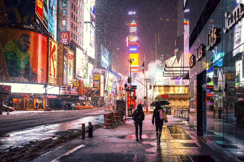 Snowing at Times Square, New York City