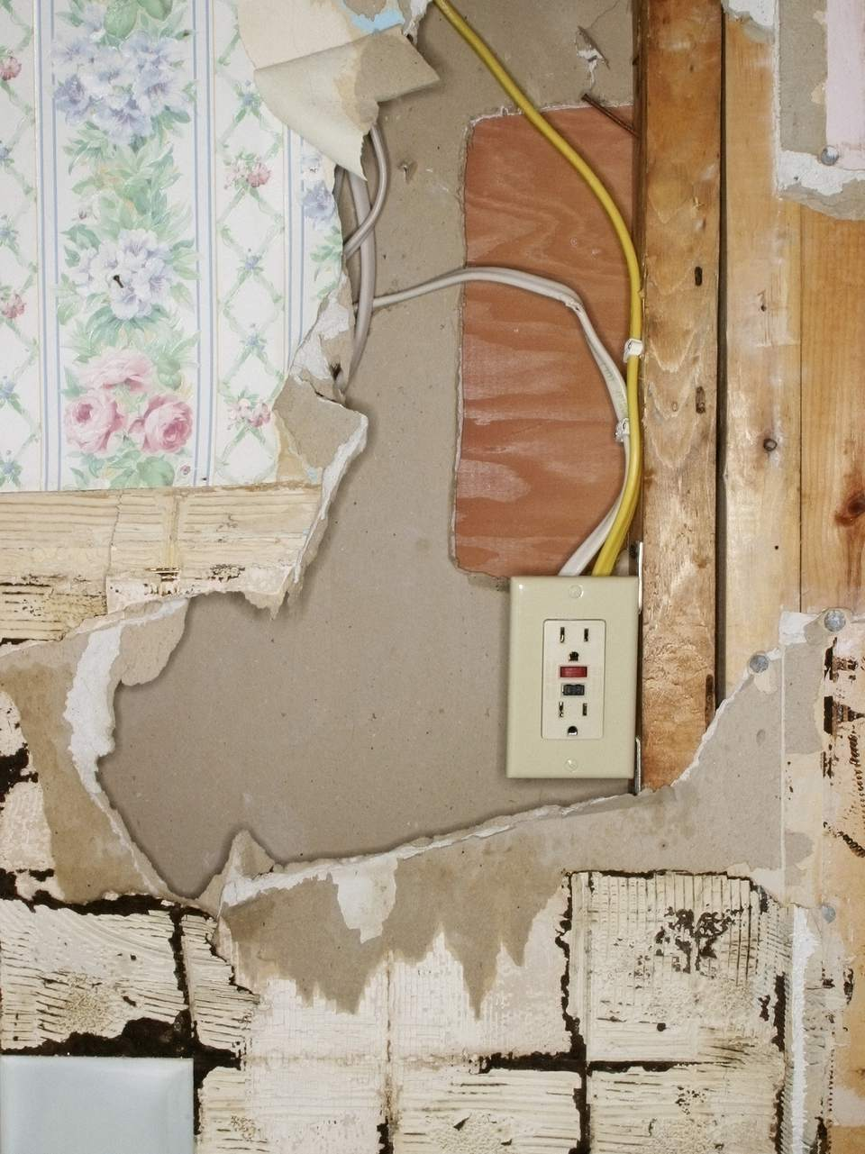 Damaged wall outlet