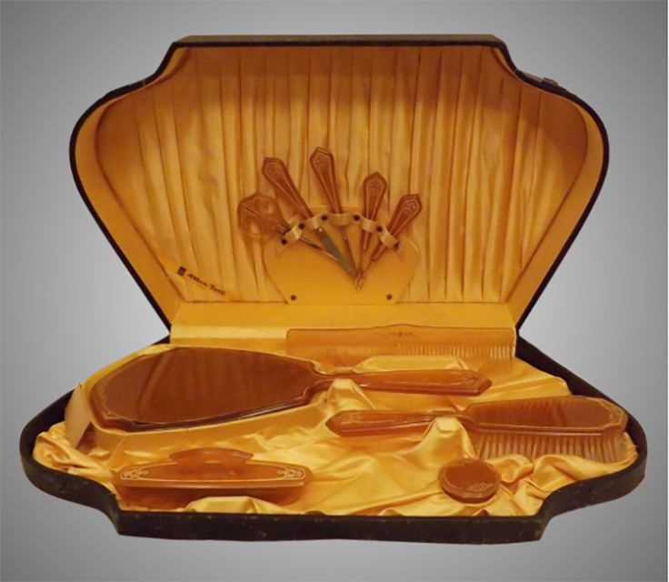 Celluloid Dresser Set in Fitted Case