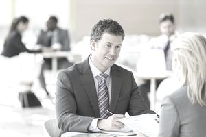 Business people talking in an office