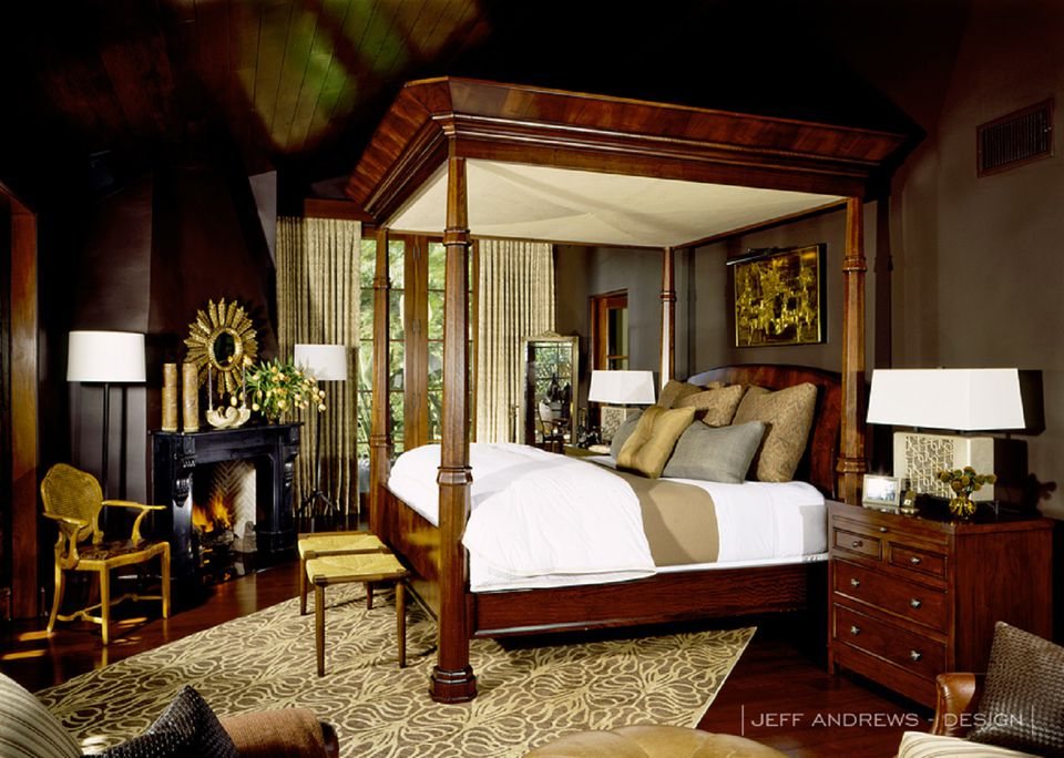 dark wood and walls in masculine bedroom - Master Bedroom Design Ideas