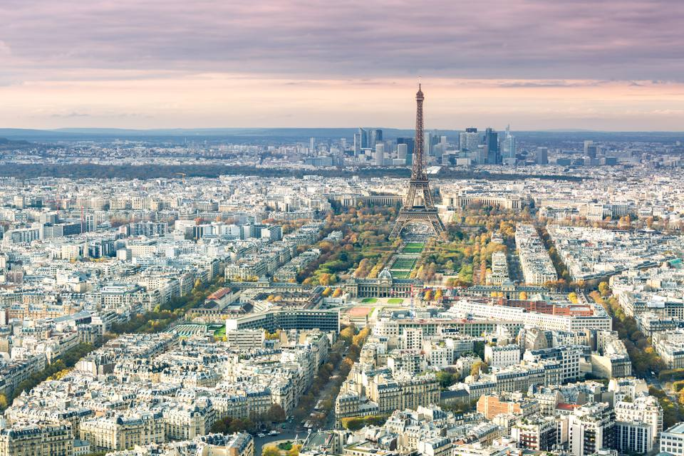 Aerial view of Paris with Eiffel tower, France