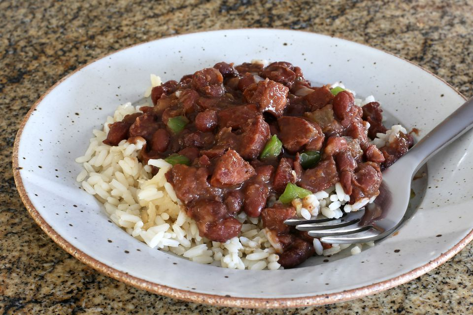Slow cooker red beans with andouille sausage.