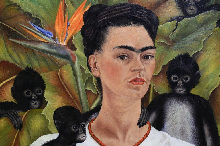 Painting of Frida Kahlo with three monkeys
