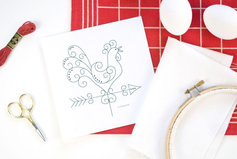 Redwork Chicken Weathervane Embroidery Pattern