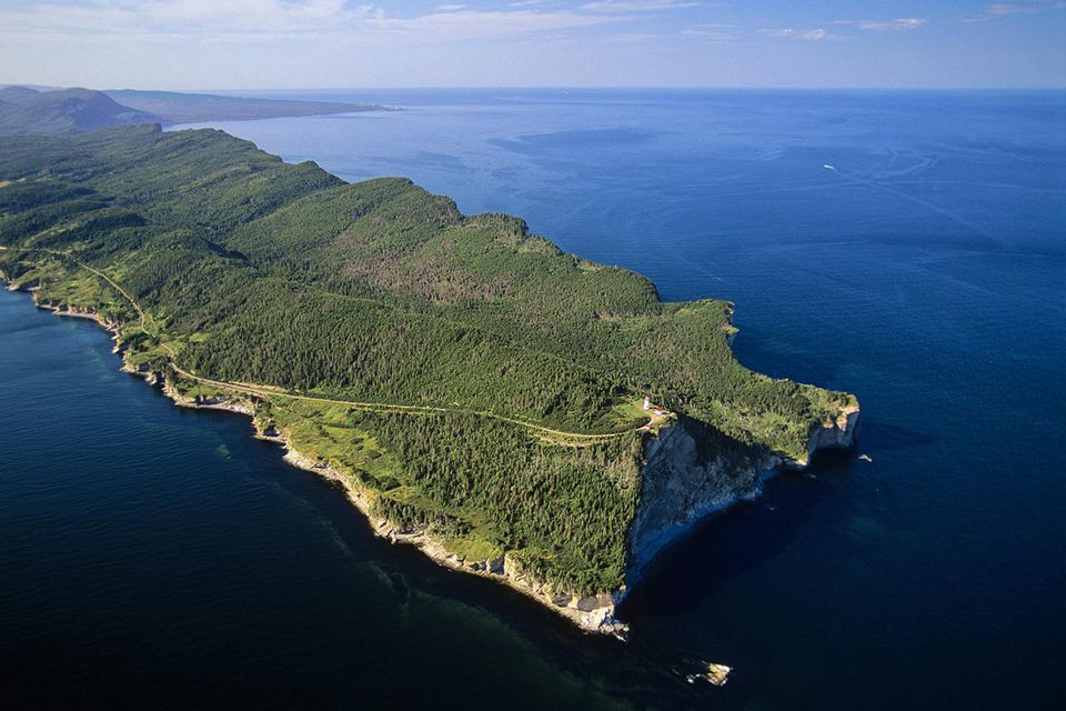 Aerial of the GaspeÃÅ peninsula, Forillon national park of Canada, quebec, Canada.