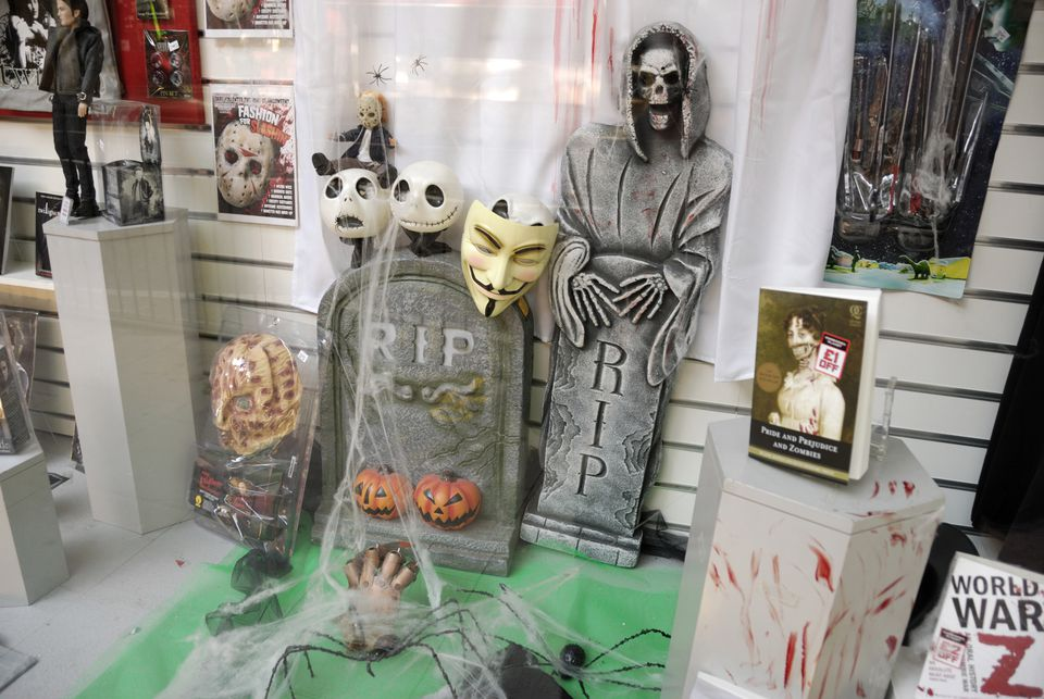 The interior of a Halloween store.