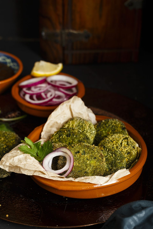 Green Goddess Kebab, also called Hara Bhara Kebab, an appetiser from India