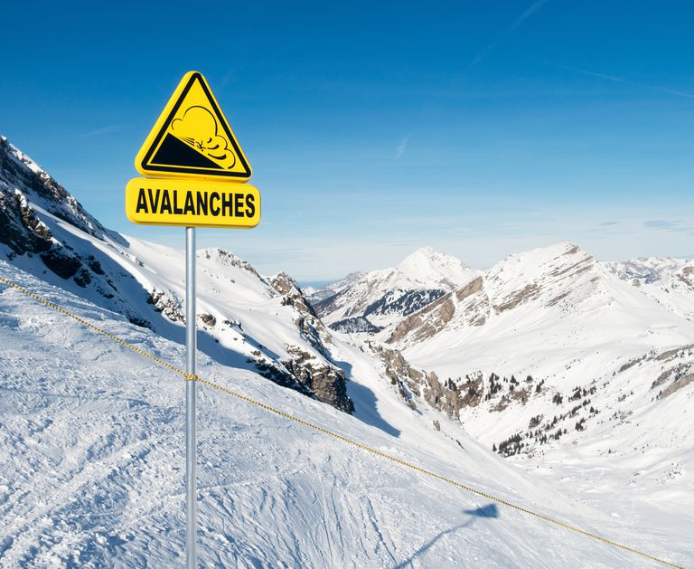 Avalanche warning sign in the European Alps