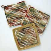 Earthtone Potholders and Dishcloth Crocheted in Tunisian Simple Stitch