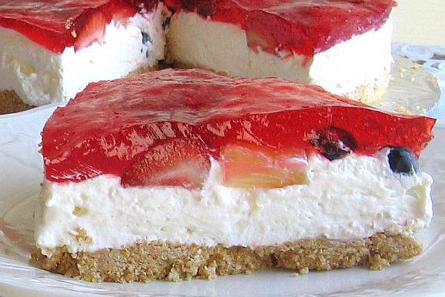 Gelatin-Topped No-Bake Cheesecake