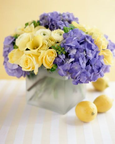 Picture of yellow and purple wedding flowers